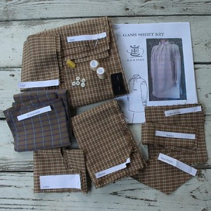 Gash shirt Kit includes cut fabric pieces, thread,buttons needles and instructions